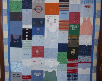 Full Size Quilt made from baby clothes - CUSTOM ORDERS (elaborate borders)