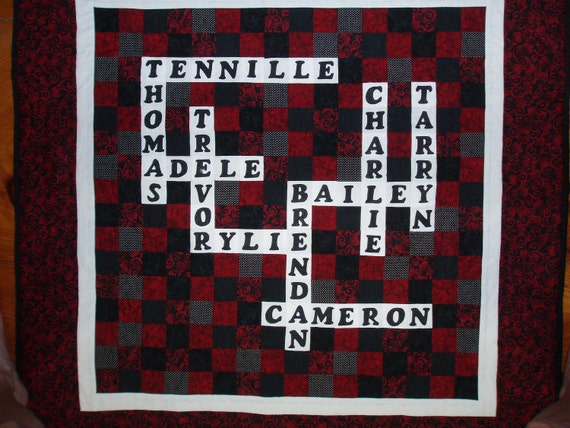 Scrabble/Crossword Puzzle personalized by BarbMalmTshirtQuilts