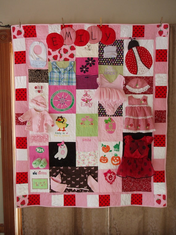 CUSTOM ORDERS -  Large Throw size Patchwork Quilt made from baby clothes
