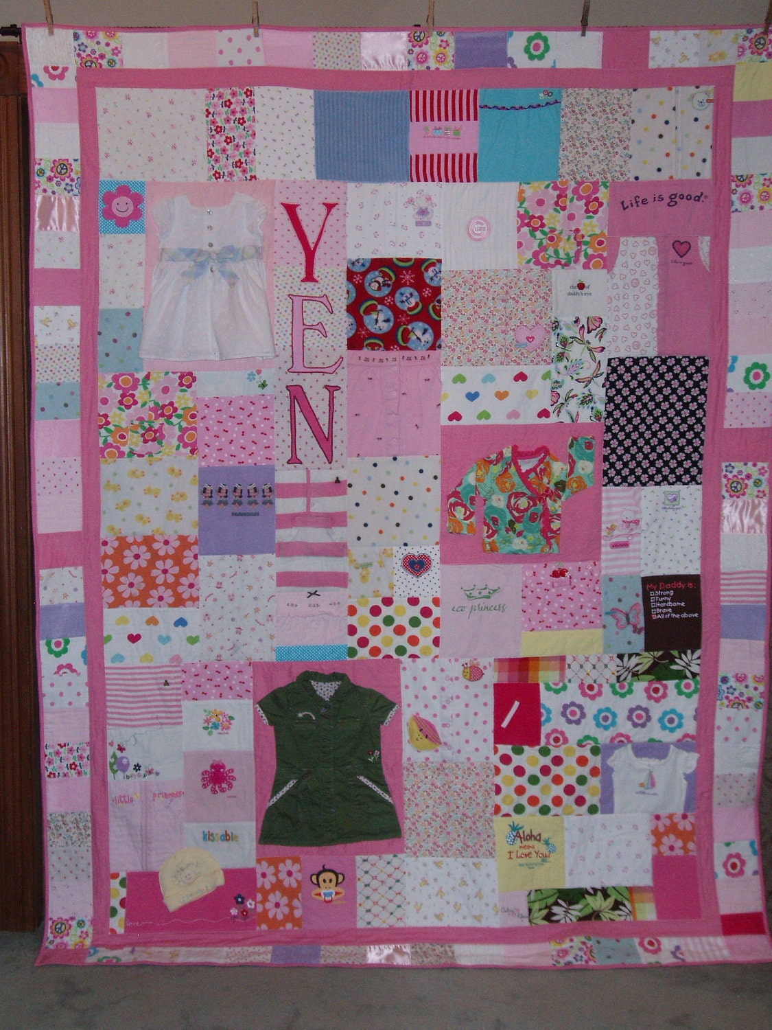 Queen Size Patchwork Quilt Made From Your Clothes Baby Items