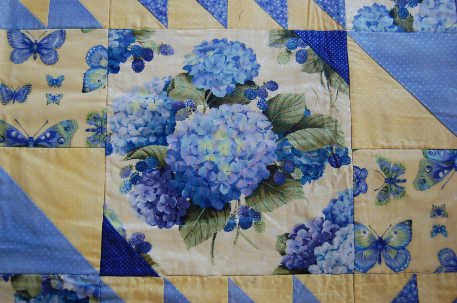 Twin Size Blue And Yellow Hydrangea Quilt 20 Percent Off