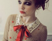 Bow and Heart Button Upcycled Cardigan in Red and Sand