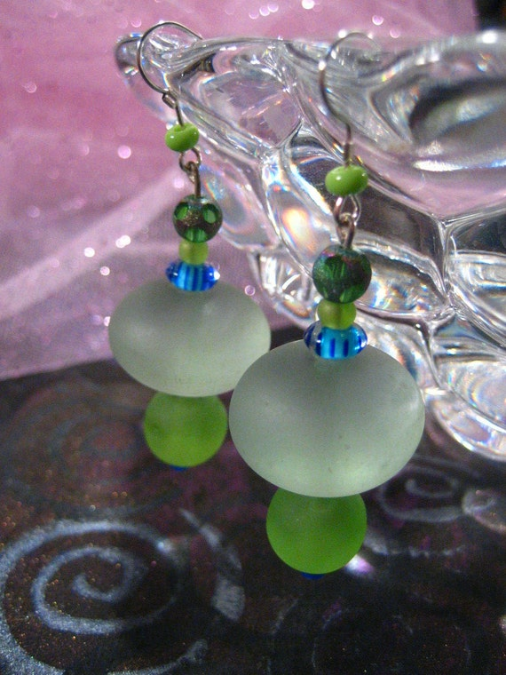 Resin Luminosity Green Earrings