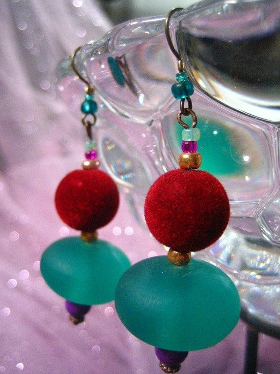 Resin And Velvet Bold Sexy Earrings