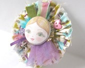 Fabric Brooch with Doll Face  - Anastacia
