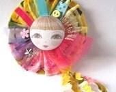 Doll Face Fabric Brooch/Pin - Olga