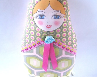 Fabric Matryoshka Doll, Babushka Plush, Textile Russian Doll, Cloth Nesting Doll, Stacking Doll