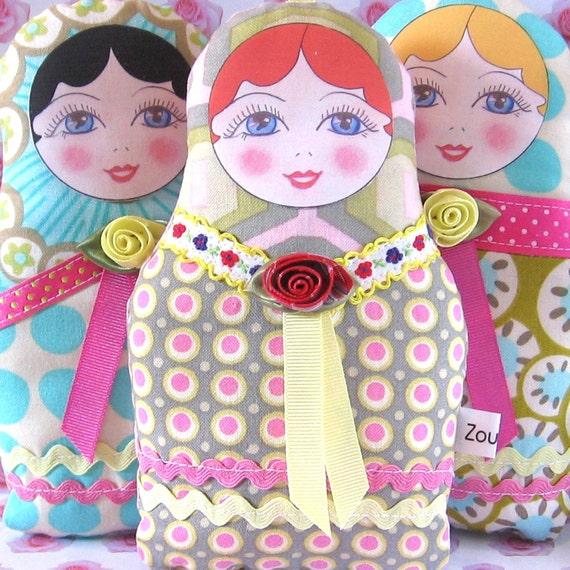 Fabric Russian Doll, Babushka Plush, Textile Matryoshka, Cloth Nesting Doll, Stacking Doll, Doll Ornament