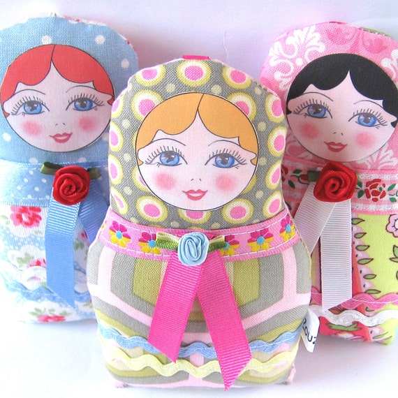 Textile Russian Doll, Fabric Nesting Doll, Cute Babushka Doll, Small Matryoshka Doll, Blonde Haired doll