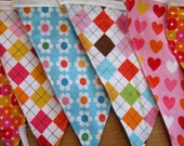 SALE Fabric Flags - Ready To Ship- a sustainable decoration - Rainbow Remix