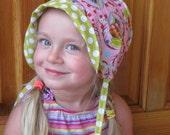 Reversible Cotton Bonnet -  Pink Bloom Dot- custom sizes