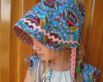 SALE Reversible Cotton Bonnet -  Blue Bloom Stripe- Last One -size 6-12 months