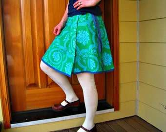 SALE Women's Wrap Skirt  -Blue Green Floral - Adjustable Size - Ready to Ship