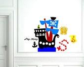 Ahoy Matey Pirate Ship Vinyl Decal Set
