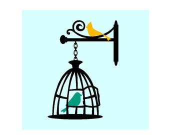 2 birds in a cage