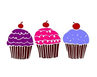Set of 3 Sweet Cupcake Vinyl Decals