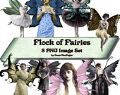 Flock of Fairies - PNG Image Set - Digital Download Images - for ACEO, Tags, Collage Art, and More