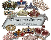 Tiaras and Crowns - 16 PNG Digital Images - for ACEO, Tags, Collage Art, and More