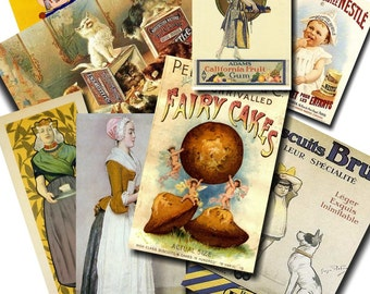 EPHEMERA Image Set 4 -  SWEET Ads Digital Collage Sheet INSTANT Download for altered, collage, steampunk art, cards, Aceo