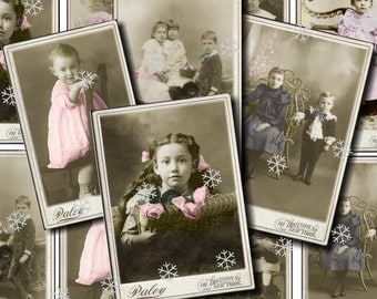 Cabinet Card Set 1 - CHILDREN - Printable Digital  Collage Sheet - INSTANT Download for altered, collage, steampunk, art, cards, ACEO - Jpg
