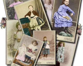 Cabinet Card Set 2 - CHILD - Printable Digital Collage Sheet - INSTANT Download for altered, collage, steampunk, art, cards, ACEO - Jpg