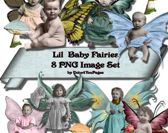 Lil' Baby Fairies - PNG Digital Download Image files - for ACEO, Tags, Collage Art, and More