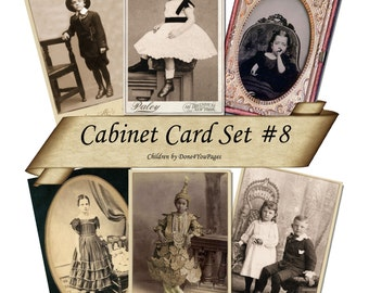 Cabinet Card Set 8 - CHILDREN - Printable Digital Collage Sheet INSTANT Download for altered, collage, steampunk, art, cards, ACEO - Jpg
