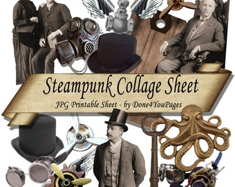 Steampunk Collage Sheet - INSTANT Download - Printable JPG Pages - for ACEO, Tags, Collage Art, and More