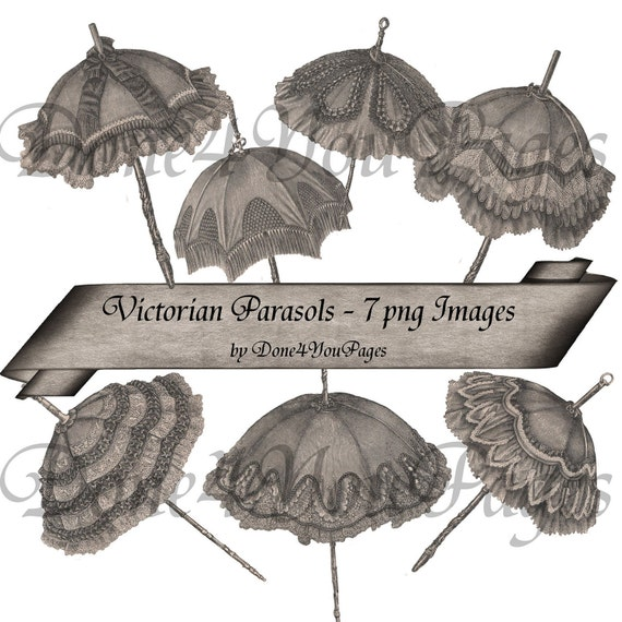 Victorian Parasols - 7 PNG Images Digital Download  - Highly detailed Images 300dpi each - for ACEO, Tags, Collage Art, and More