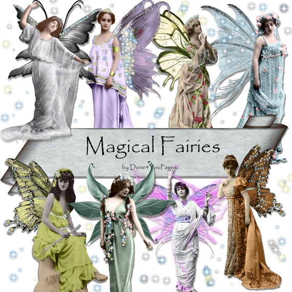 Magical Fairies - 8 PNG downloadable images - for ACEO, Tags, Collage Art, Altered Art and More