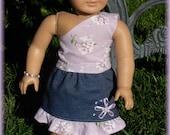 Lavender Shirt and Denim Skirt for 18 inch doll