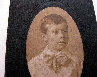 Vintage Little Choir Boy Photo Dressy Ribbon Bow Tie Happy Child Photograph