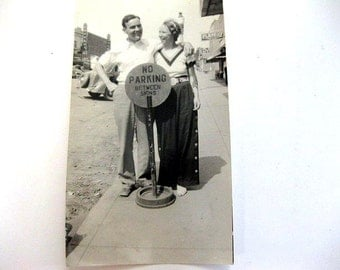 """Vintage Lovey Dovey Couple Photo Standing Behind a """"No Parking Sign"""""""
