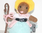 Little Bo-Peep and Her Sheep Toy, Nursery Rhyme Baby Mice, Hand Knit, Perfect for Fantasy Play and Tea Parties, Ready to Ship