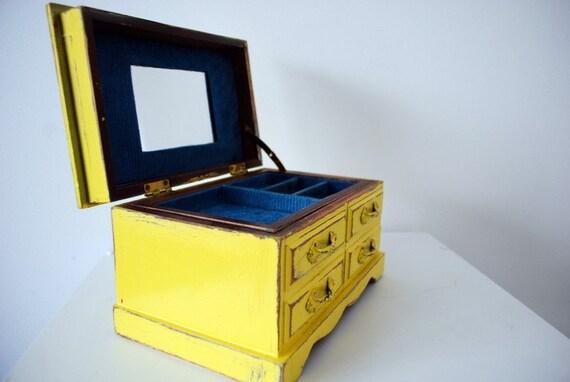 UltraSonic Yellow and Blue Shabby Chic Music Jewelry Box