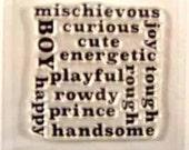Boy Word Block clear stamp