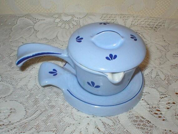 Dru Holland Cast Iron Enamelware Baby Blue Chocolate Melting Pot Butter Melting Pot Sauce Pot  Vintage