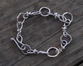 chain link linked chain bracelet - hand hewn - sterling silver