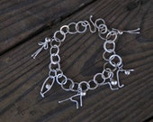 Sterling Silver Sun Salutations Hand Hewn Chain Yoga Pose Charm Bracelet