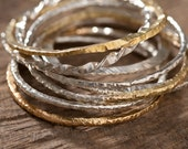 Hand Forged Bangles Twisted Intertwined Sterling Silver, 14k gold, 18k gold