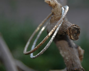 forged sterling and 14k gold duo bangle bracelet