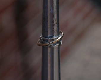 Twist on Eternity Ring Sterling Silver and 14k gold