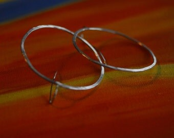 unbroken circle earring face front hoop sterling silver larger size