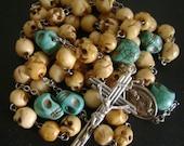 Turquoise Skulls Tibet oxen Bone Skull Bead ROSE Rosary medal crucifix catholic Rosary  necklace