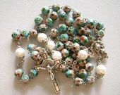 8 mm Lake Blue CLOISONNE  9mm Pearl Bead ROSARY  CROSS medal crucifix catholic Rosary  necklace