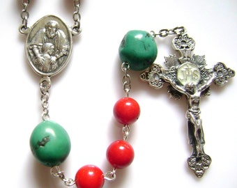 Red Coral And Turquoise Rosary Sterling 925 Silver necklace cross