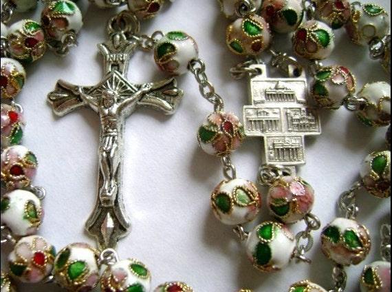 white CloIsonne Rose Beads Rosary Cross Catholic crucifix ty66666