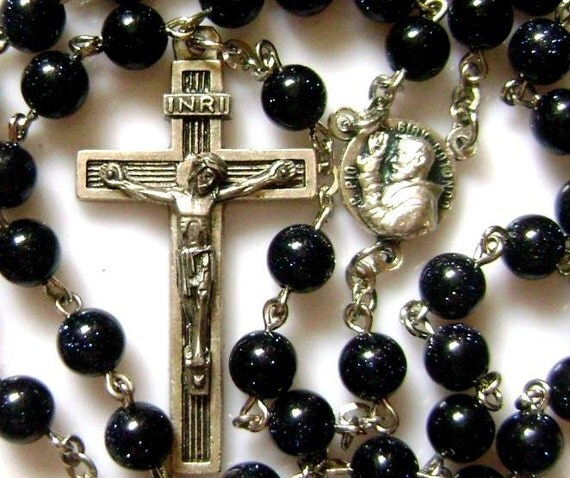 Blue Jade Prayer Beads Rose Rosary Cross Catholic Nice Catholic medal crucifix catholic necklace
