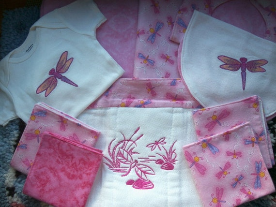 Pink Dragonflies - Baby Girl Shower Gift Set