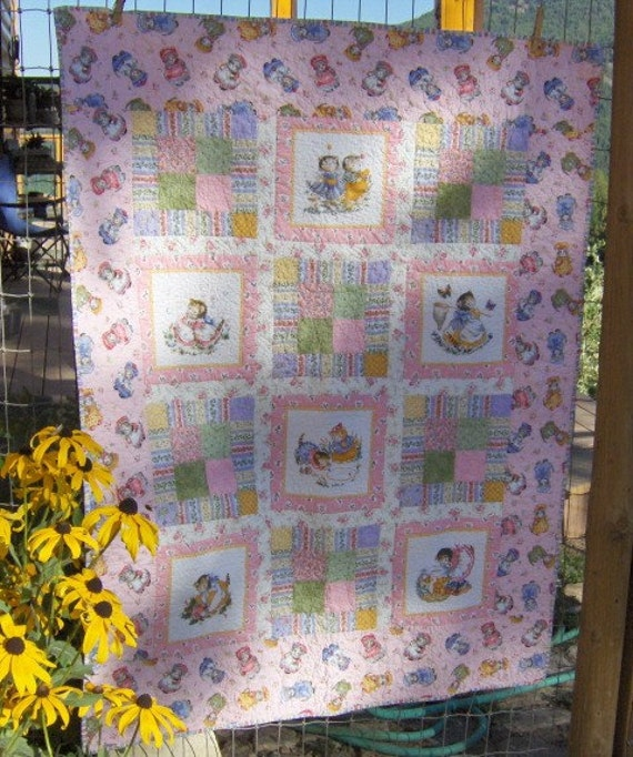 Kitty Cucumber Patchwork Crib Size Quilt